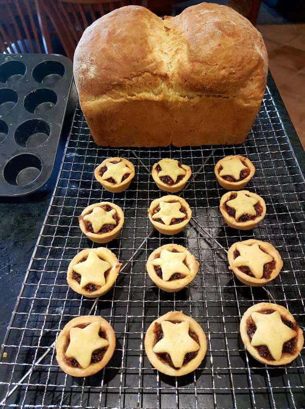 The now-baked tarts and homemade bread